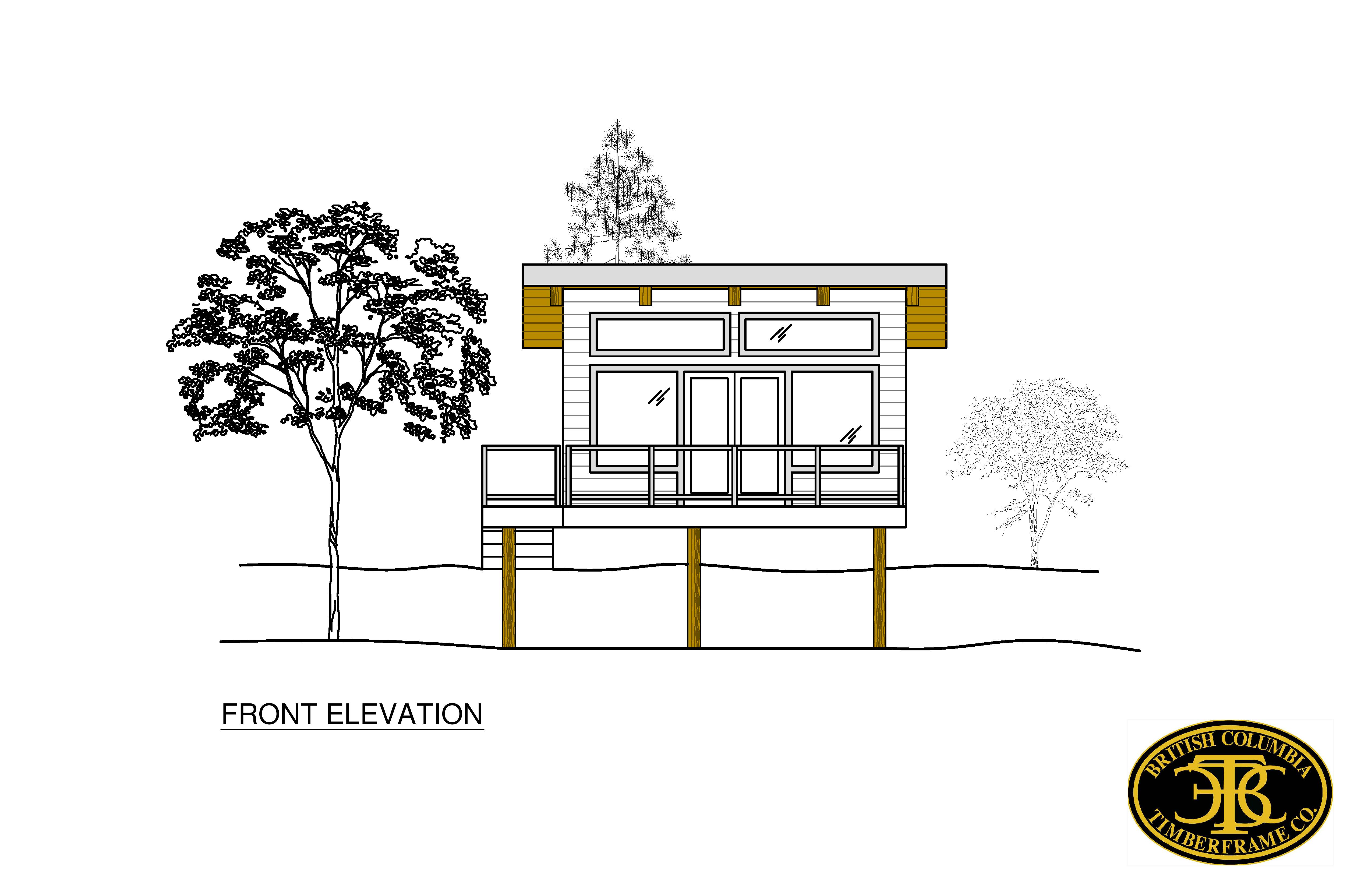 Front Elevation Sheets : Cabins cottages british columbia timberframe company